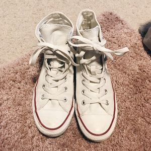 Converse White Classic High Top Laced Sneakers